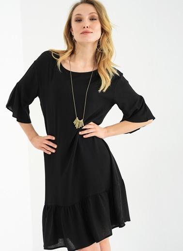 Kolu Ve Eteği Volanlı Elbise-Ola